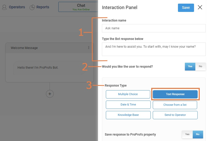 How to create responses using ProProfs chatbot