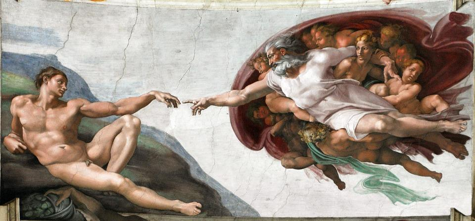Creation Of Man, God Finger, Michelangelo, 1508-1512