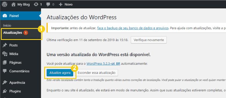 como atualizar o wordpress