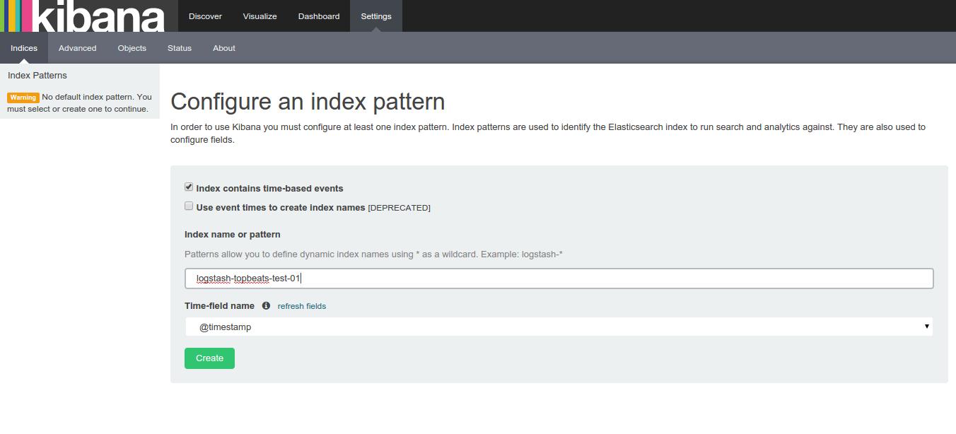 topbeat create an index pattern