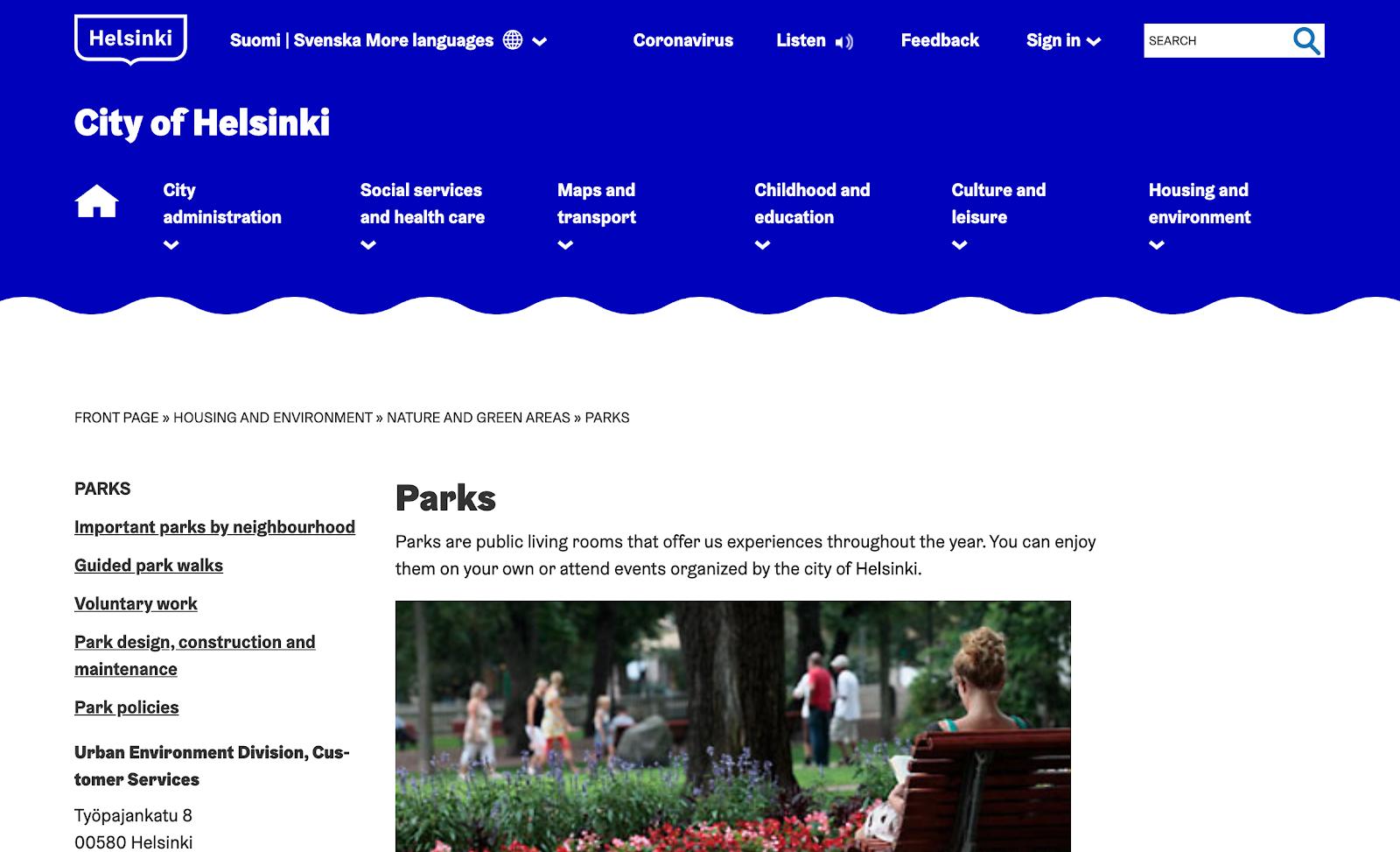 City of Helsinki landing page
