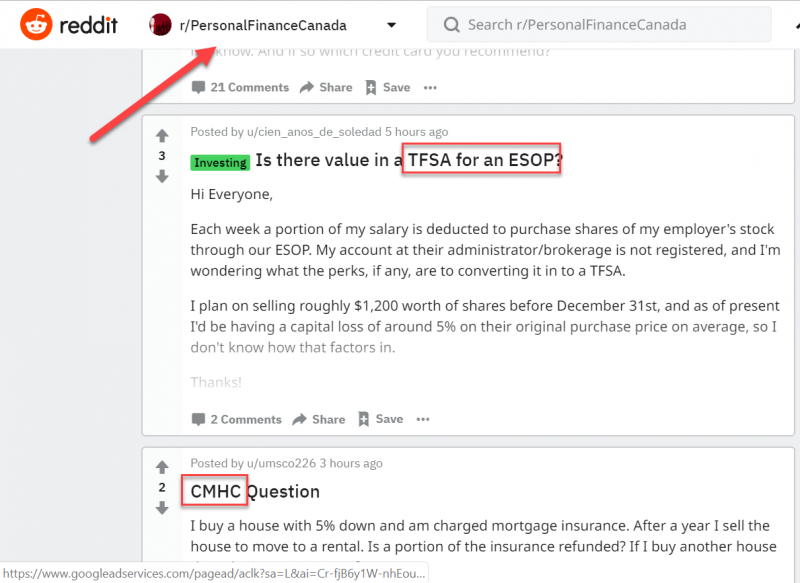 Screenshot of a subreddit related to personal finances