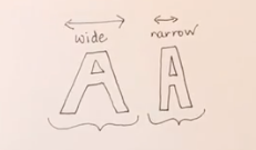different width letters