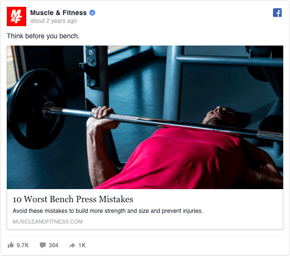 Muscle & Fitness FB ad Screenshot