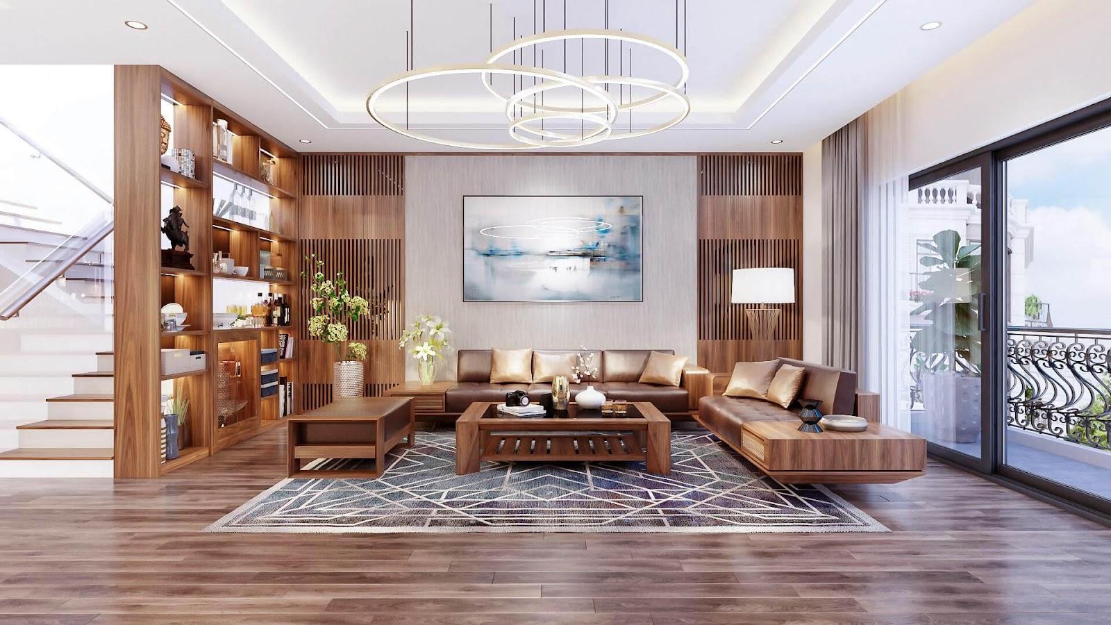 Không gian rộng rãi, chất liệu gỗ cao cấp kết hợp màu sắc hài hòa tạo sự sang trọng, đẳng cấp cho căn phòng