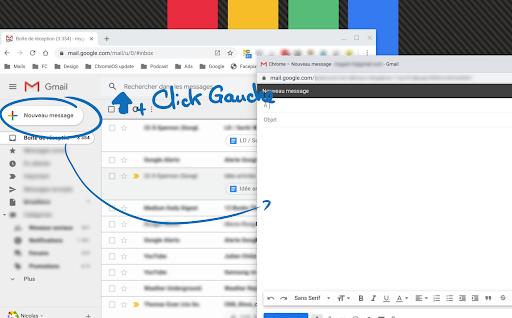 Fenêtre de l'application Gmail avec une fenêtre flottante de Nouveau message