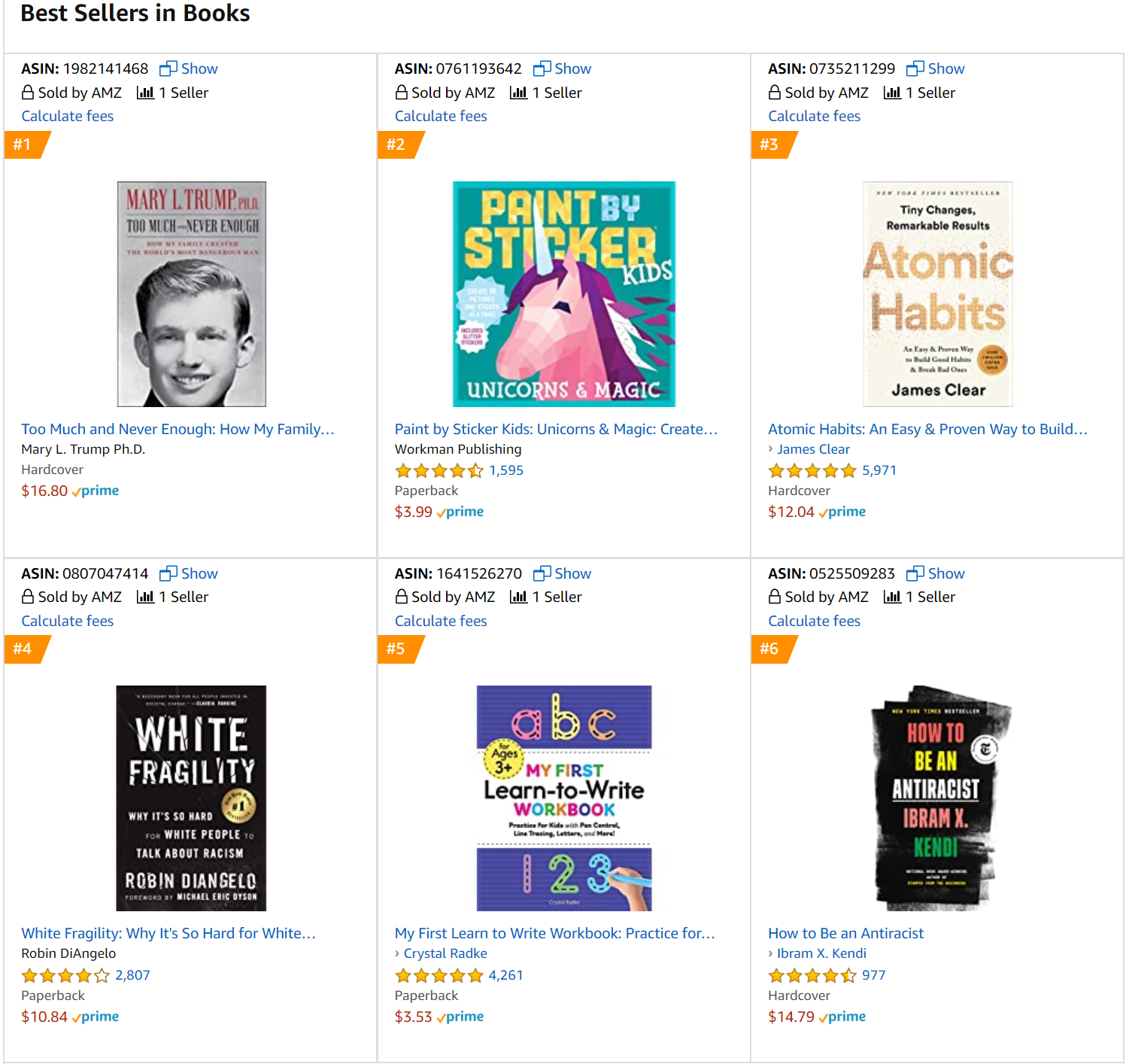 Best selling books on Amazon