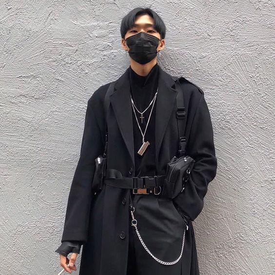 man wearing techwear