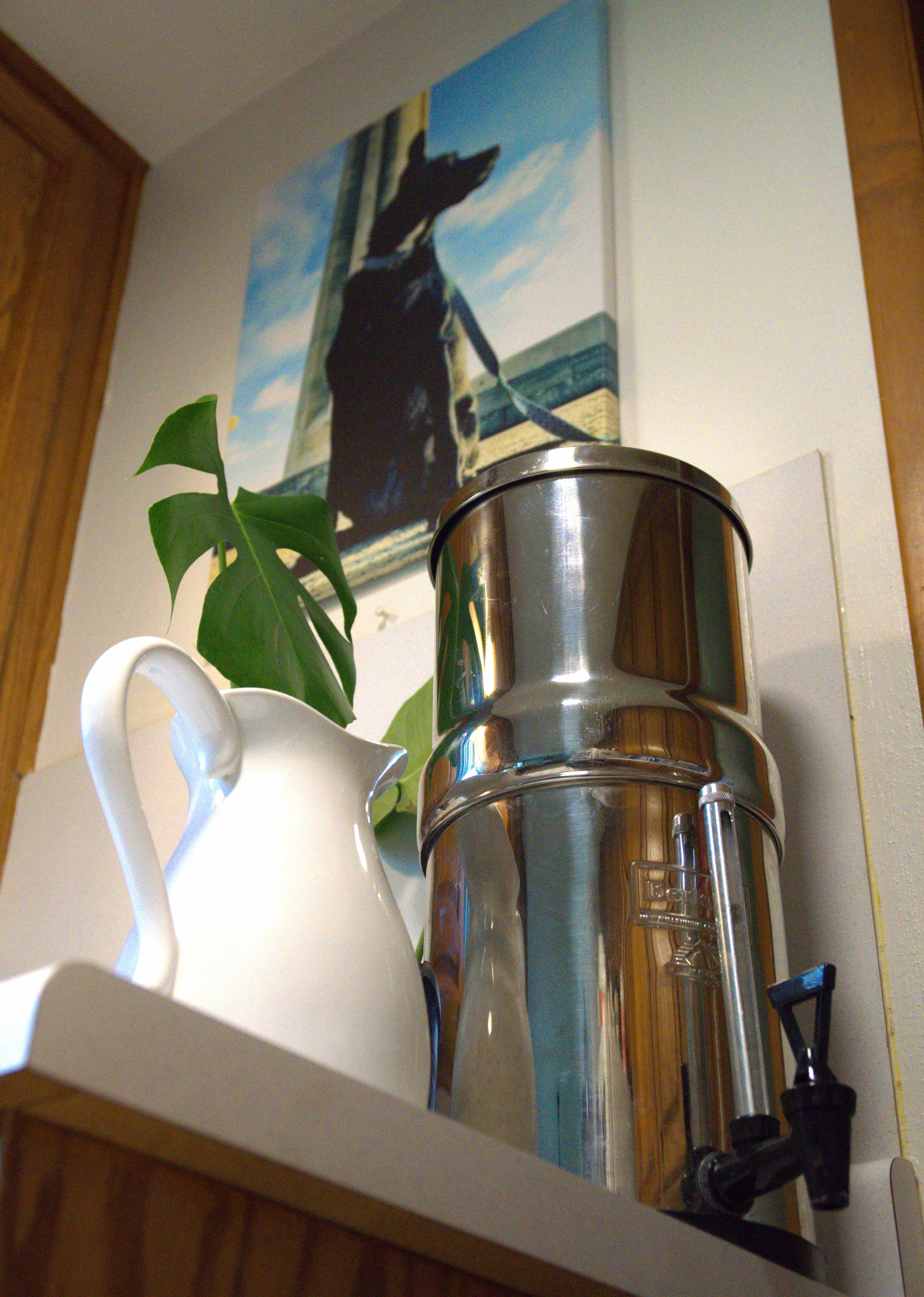 big berkey water filter in kitchen