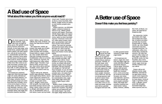 (The image to the left shows heavy content with no white space while the image to the right shows heavy content with white space used as padding)