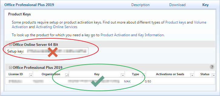 In the table beneath the name of the product, find your product key in the column labeled Key. The Type column for this key should say MAK, not KMS.