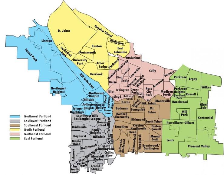 [Image is map of Portland neighborhoods]