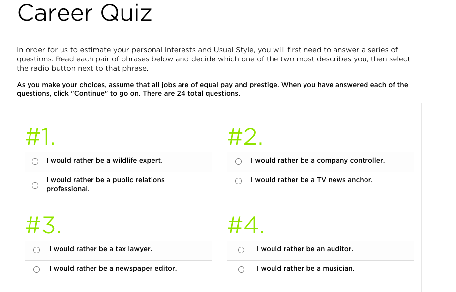 career quiz from Princeton Review with two choices for each question