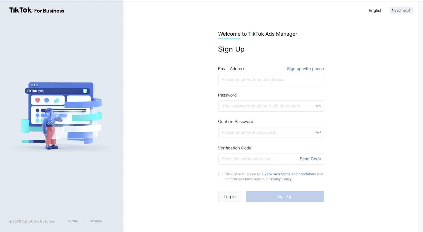 TikTok ads manager sign up page