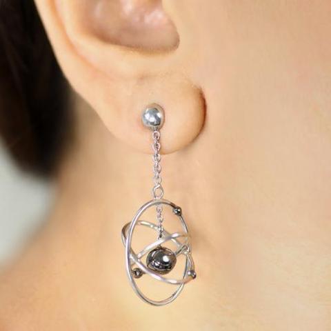 Atoms 3D Earrings Sterling Silver
