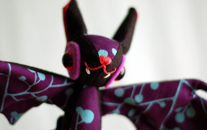 Quilted Stuffed Animal: a Colorful Bat