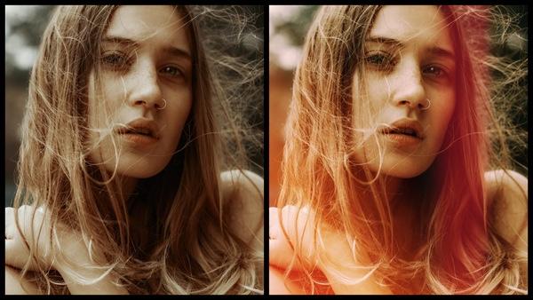 antes e depois da foto de uma mulher branca sendo que em uma foto está com o filtro SCL-1 do AirBrush
