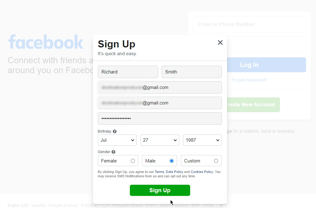 Example of the Facebook signup page