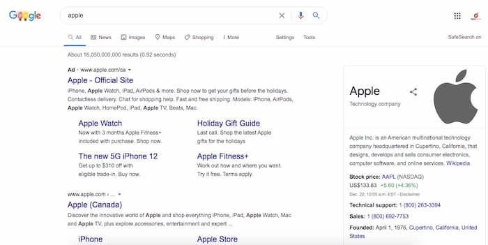 Ví dụ về việc Apple đặt giá thầu cho tên thương hiệu của riêng họ, đây là một trong nhiều chiến lược trả tiền cho mỗi lần nhấp