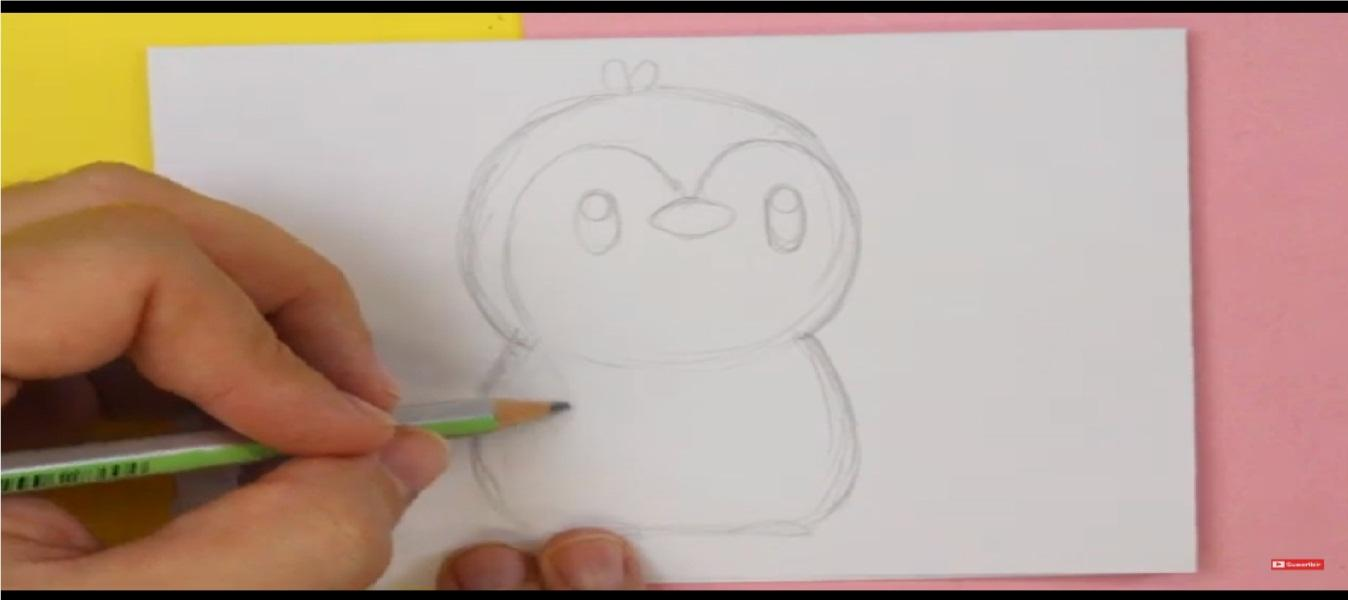como dibujar un buen pinguino kawaii