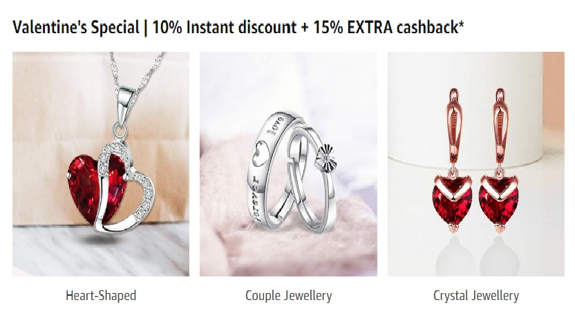 Valentine's Special | 10% Instant discount + 15% EXTRA cashback on Fashion Jewelleries