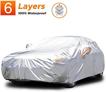 Audew 6 Layers Car Cover Waterproof All Weather Breathable UV Protection Snowproof Dustproof Universal Fit Full Car Covers for Sedan, SUV L(167''-190'')