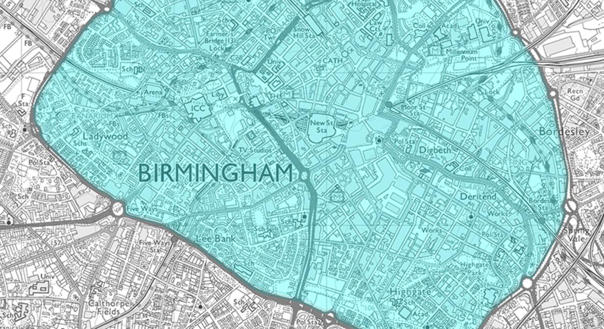 Birmingham Clean Air Zone map in 2021