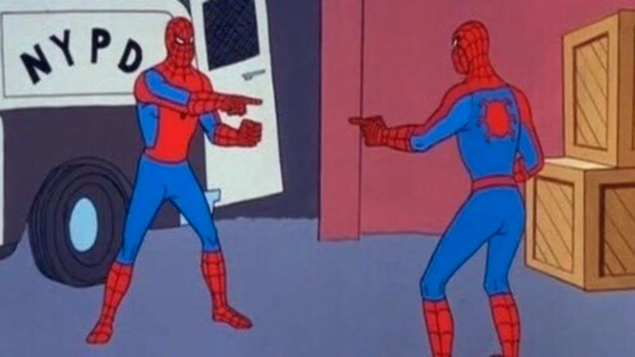 Spiderman pointing at Spiderman