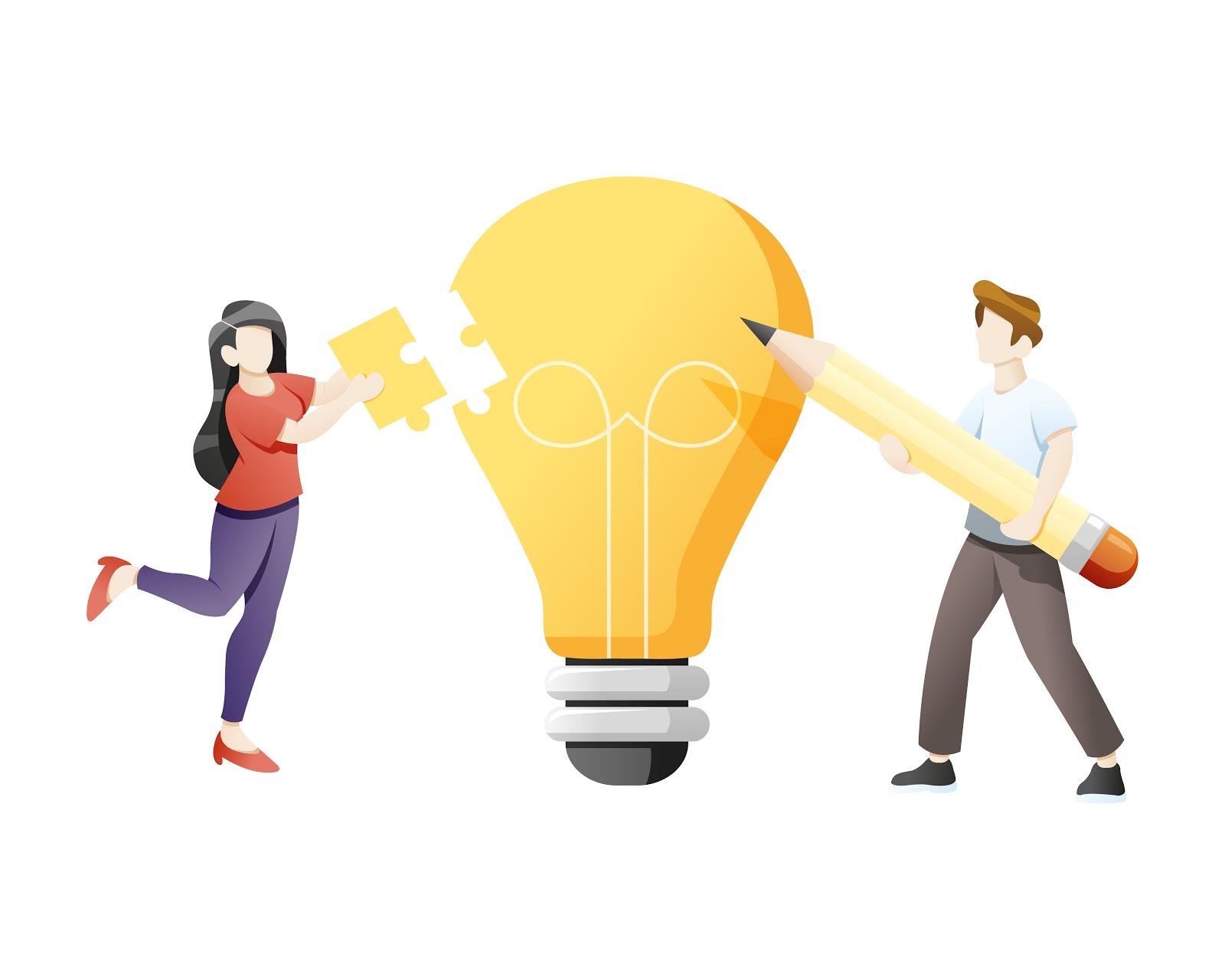 Ilustração de dois jovens desenhando uma lâmpada