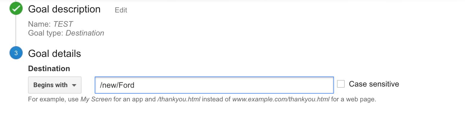 vehicle detail page Google Analytics goals