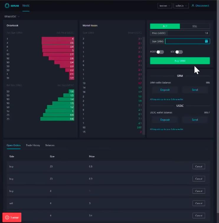 Screengrab showing the UI of Serum exchange