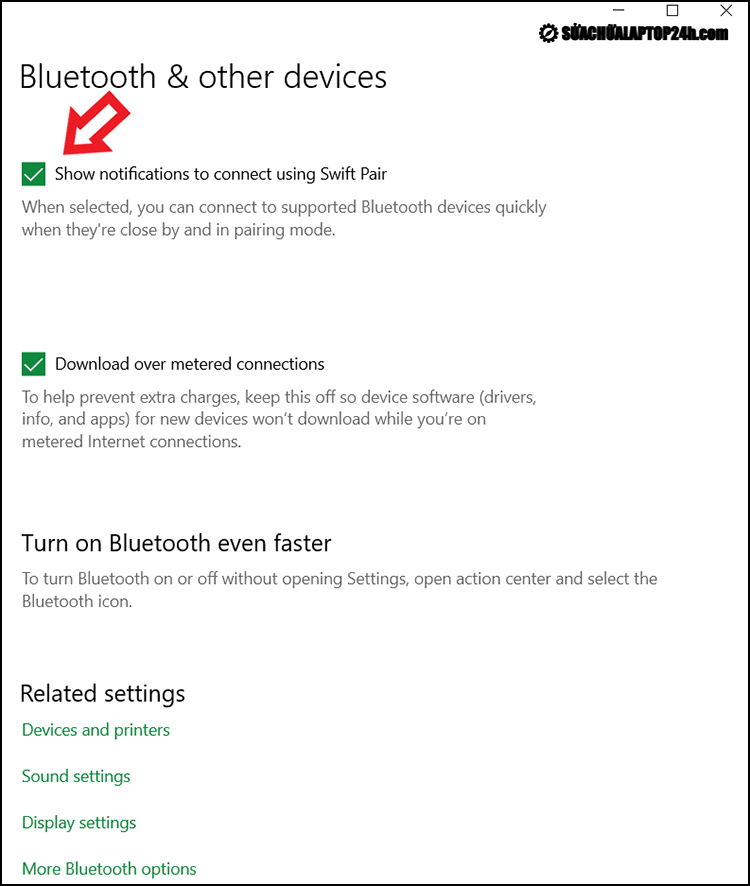 Mở Bluetooth từ Swift Pair