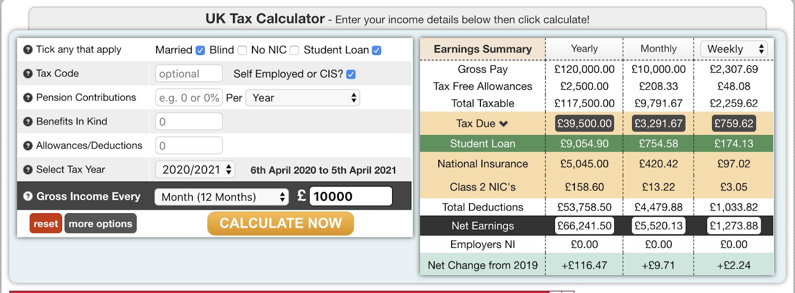 Freelance rate sheet tax calculator