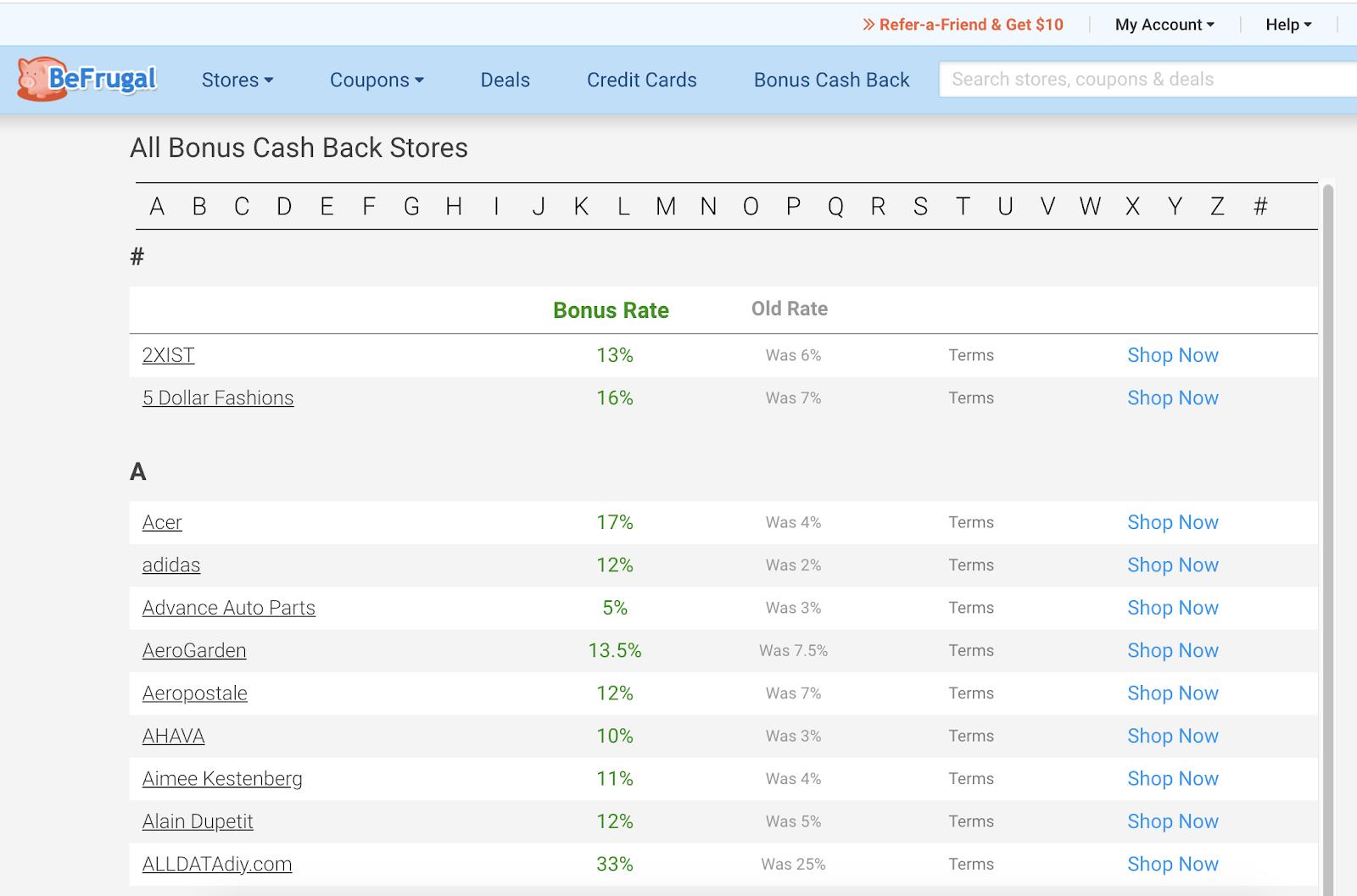 BeFrugal CashBack Stores
