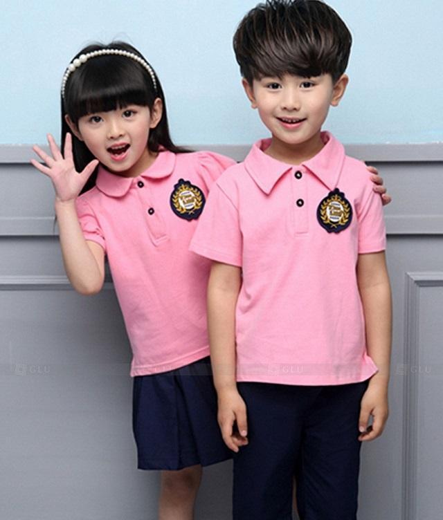 Đồng phục học sinh mầm non màu hồng
