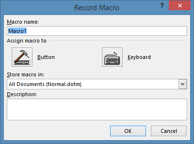 Record Macro form to enter name of macro