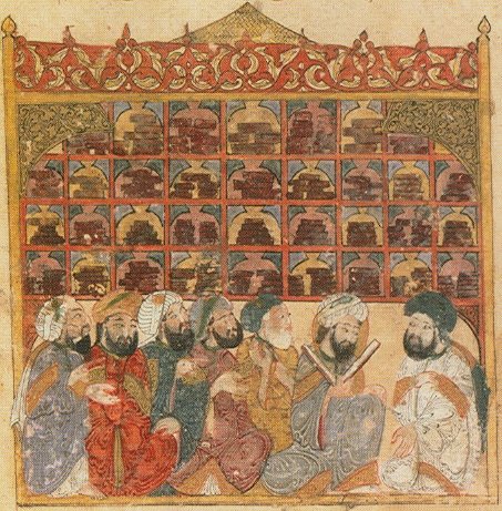 Scholars clustered together in the house of wisdom.