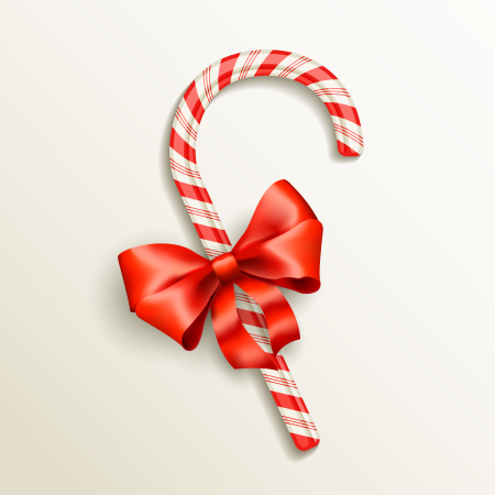 realistic candy cane illustration with red bow