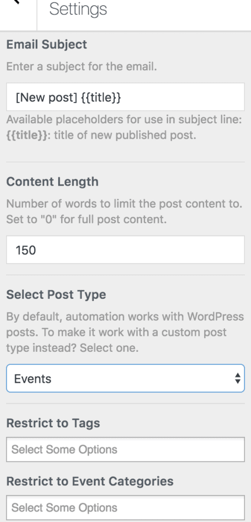 An example of Post Email Digest settings for MailOptin.