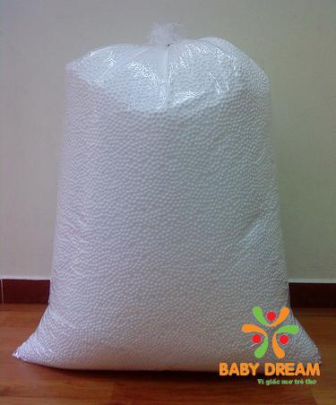Hạt mút xốp BabyDream bán theo kg cho khách hàng cho vào gối sau một thời gian dùng gối lười sẽ bị xẹp đi