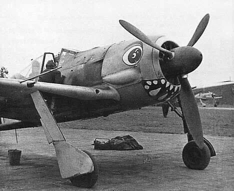 Other variants included Focke Wulf Fw 190 with large round eyes and a mouth painted on the lower engine cowling..