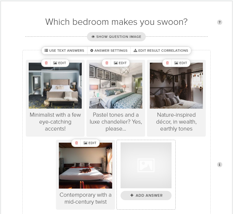 Which bedroom makes you swoon question with image answer choices