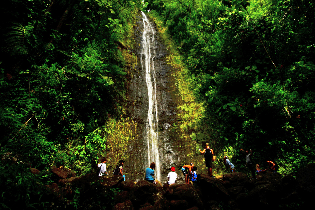 waterfall at oahu