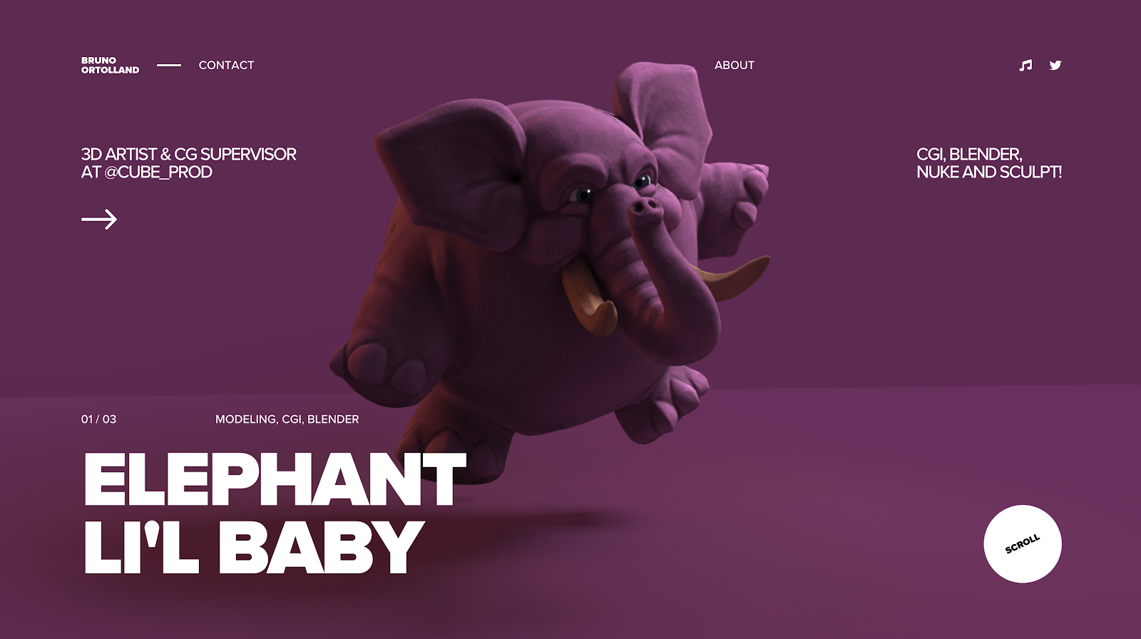 animated rendering of purple elephant