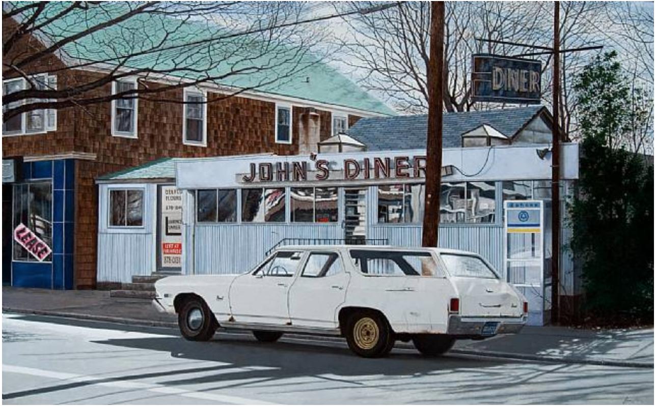 John Baeder (b. 1938)  John's Diner with John's Chevelle