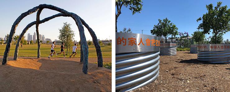 Los Angeles State Historic Park. izquierda: foto a través de Spurlock Land.   derecha: foto a través de Metro Art.