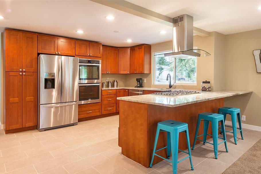 Orange Modular Kitchen Cabinets
