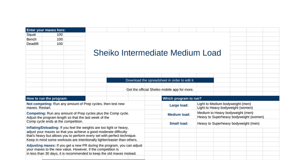 Sheiko Intermediate Medium Load - Google Sheets