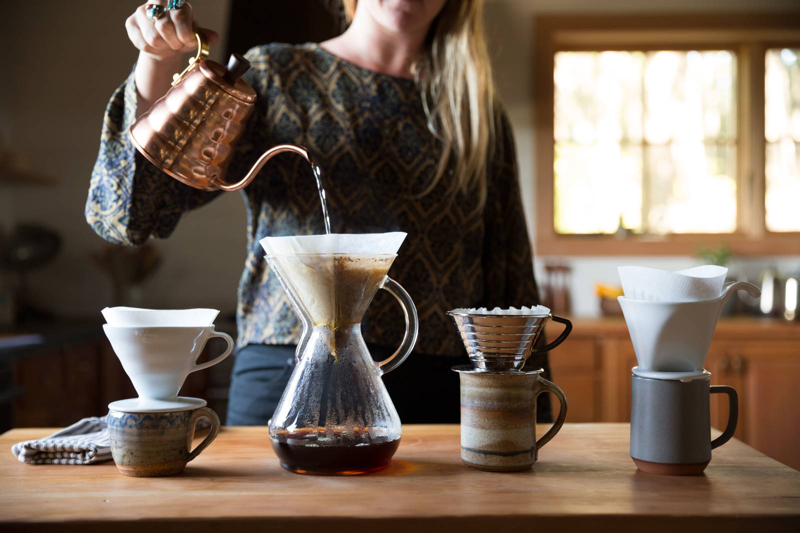 characteristic coffee pour-over being brewed