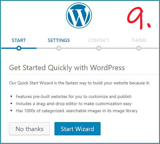 Setup wordpress wizard